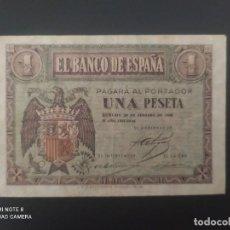 Billetes españoles: 1 PESETA DE 1938... MUY BONITO.....EL DE LAS FOTOS. Lote 278582843