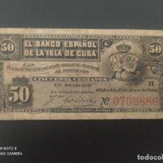 Billetes españoles: 50 CENTAVOS DE PESO DE 1896....BANCO DE ESPAÑA EN CUBA.......ES EL DE LAS FOTOS. Lote 278632443
