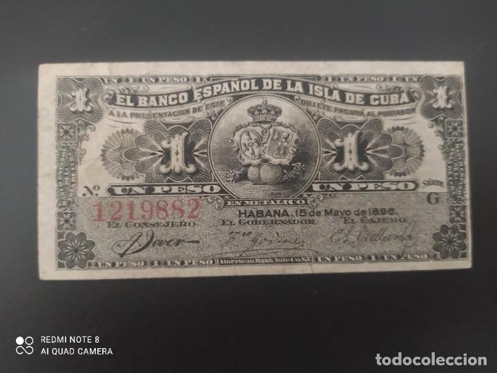 1 PESO DE 1896....BANCO DE ESPAÑA EN CUBA....PRECIOSO......ES EL DE LAS FOTOS (Numismática - Notafilia - Billetes Españoles)