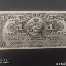 Billetes españoles: 1 PESO DE 1896....BANCO DE ESPAÑA EN CUBA....PRECIOSO......ES EL DE LAS FOTOS. Lote 278632508