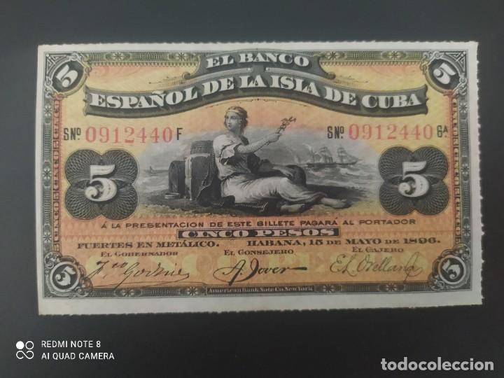 5 PESOS DE 1896....BANCO DE ESPAÑA EN CUBA....PRECIOSO......ES EL DE LAS FOTOS (Numismática - Notafilia - Billetes Españoles)