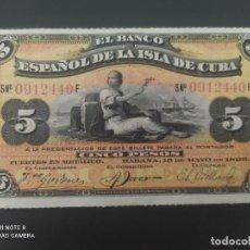 Billetes españoles: 5 PESOS DE 1896....BANCO DE ESPAÑA EN CUBA....PRECIOSO......ES EL DE LAS FOTOS. Lote 278632578