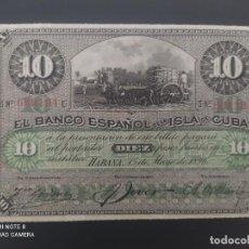 Billetes españoles: 10 PESOS DE 1896....BANCO DE ESPAÑA EN CUBA....PRECIOSO......ES EL DE LAS FOTOS. Lote 278632628