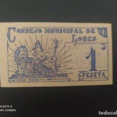 Billetes españoles: 1 PESETA DE 1937... CONSEJO MUNICIPAL DE LORCA....PRECIOSO......ES EL DE LAS FOTOS. Lote 278632748