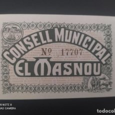 Billetes españoles: 25 CENTIMOS ... CONSEJO MUNICIPAL DE EL MASNOU....SIN CIRCULAR......ES EL DE LAS FOTOS. Lote 278632888