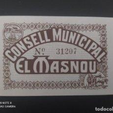 Billetes españoles: 50 CENTIMOS ... CONSEJO MUNICIPAL DE EL MASNOU....SIN CIRCULAR......ES EL DE LAS FOTOS. Lote 278632968