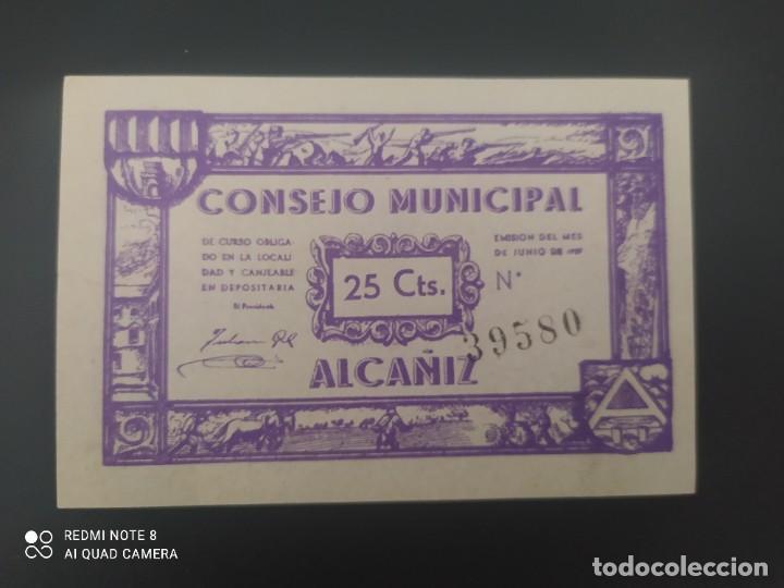 25 CENTIMOS ...1937.... CONSEJO MUNICIPAL DE EL ALCAÑIZ......SIN CIRCULAR......ES EL DE LAS FOTOS (Numismática - Notafilia - Billetes Españoles)