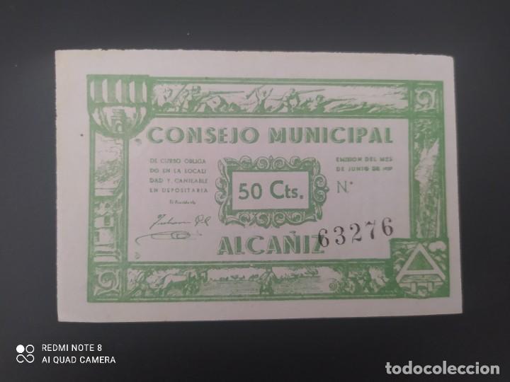 50 CENTIMOS DE 1937.... CONSEJO MUNICIPAL DE EL ALCAÑIZ......SIN CIRCULAR......ES EL DE LAS FOTOS (Numismática - Notafilia - Billetes Españoles)