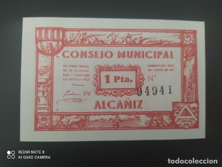 1 PESETA DE 1937.... CONSEJO MUNICIPAL DE EL ALCAÑIZ......SIN CIRCULAR......ES EL DE LAS FOTOS (Numismática - Notafilia - Billetes Españoles)