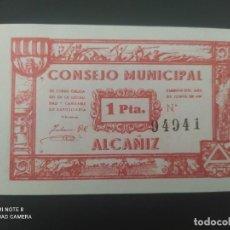 Billetes españoles: 1 PESETA DE 1937.... CONSEJO MUNICIPAL DE EL ALCAÑIZ......SIN CIRCULAR......ES EL DE LAS FOTOS. Lote 278633423