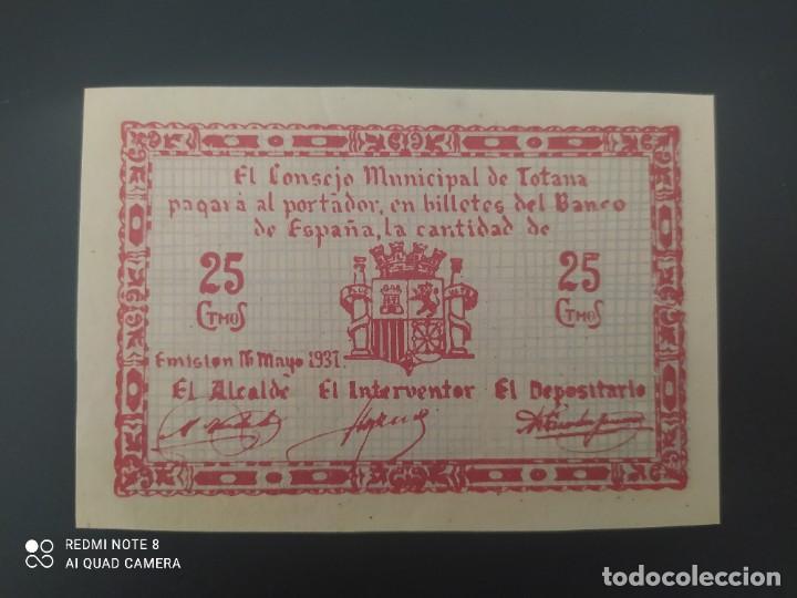 25 CENTIMOS DE 1937.... CONSEJO MUNICIPAL DE EL TOTANA......SIN CIRCULAR --......ES EL DE LAS FOTOS (Numismática - Notafilia - Billetes Españoles)