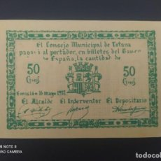 Billetes españoles: 50 CENTIMOS DE 1937.... CONSEJO MUNICIPAL DE EL TOTANA......SIN CIRCULAR --......ES EL DE LAS FOTOS. Lote 278633638