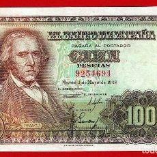 Billetes españoles: 100 PESETAS, 1948 ''BAYEU'' SIN SERIE, EBC+/EBC. Lote 279527833
