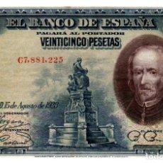 Billetes españoles: BILLETE DE ESPAÑA DE 25 PESETAS DE 1928 MANCHADO. Lote 279528173