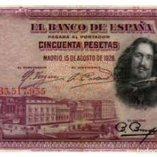 Billetes españoles: BILLETE DE ESPAÑA DE 50 PESETAS DE 1928 CIRCULADO MANCHADO. Lote 279528298
