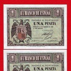 Billetes españoles: 1 PESETA DE FEBREO 1938, PAREJA CORRELATIVA ,SERIE F, SC. Lote 279529623