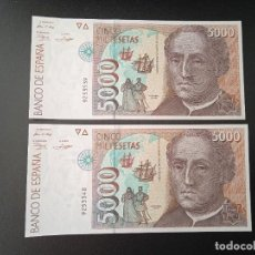 Billetes españoles: JUAN CARLOS I 5000 PESETAS 1.992 PAREJA CORRELATIVA PLANCHA Y SIN SERIE. (B13). Lote 279554353