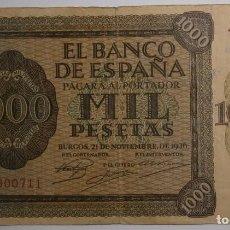 Billetes españoles: 1000 PESETAS. BURGOS, 21 DE NOVIEMBRE DE 1936. SERIE A… 436. D24.. Lote 280121458
