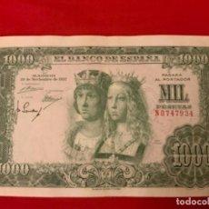 Billetes españoles: BILLETE 1000 PESETAS 1957 SERIE N. Lote 280121863