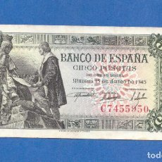 Billetes españoles: 5 PESETAS 1945 SERIE-C SC. Lote 280276553