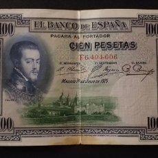 Banconote spagnole: BILLETE DE 100 PESETAS ESPAÑA AÑO 1925 FELIPE II. Lote 280565913
