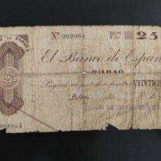 Billetes españoles: BILLETE 25 PESETAS 1936 BILBAO. Lote 280770618