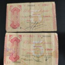 Billetes españoles: BILLETES DE 5 PESETAS 1936 BILBAO SIN SERIE Y SERIE A. Lote 280771293