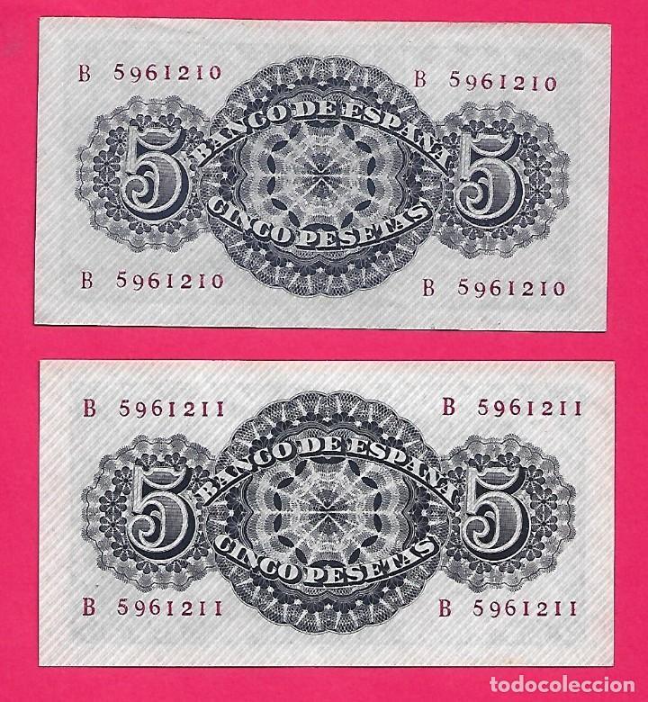 Billetes españoles: 5 PESETAS 1947 SÉNECA PAREJA CORRELATIVA SERIE B CON APRESTO.ESCASA. - Foto 2 - 207285457