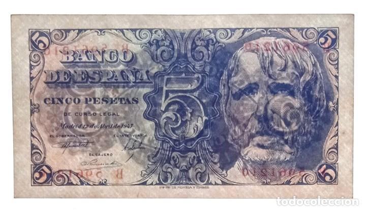 Billetes españoles: 5 PESETAS 1947 SÉNECA PAREJA CORRELATIVA SERIE B CON APRESTO.ESCASA. - Foto 3 - 207285457