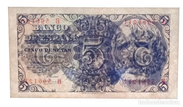 Billetes españoles: 5 PESETAS 1947 SÉNECA PAREJA CORRELATIVA SERIE B CON APRESTO.ESCASA. - Foto 4 - 207285457