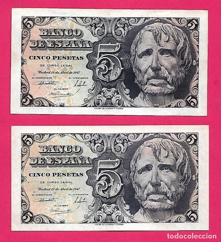 5 PESETAS 1947 SÉNECA PAREJA CORRELATIVA SERIE B CON APRESTO.ESCASA. (Numismática - Notafilia - Billetes Españoles)