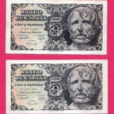 Billetes españoles: 5 PESETAS 1947 SÉNECA PAREJA CORRELATIVA SERIE B CON APRESTO.ESCASA.. Lote 207285457