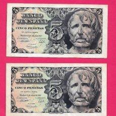 Billetes españoles: 5 PESETAS 1947 SIN SERIE SÉNECA PAREJA CORRELATIVA ,CON APRESTO,ESCASA. Lote 280904948