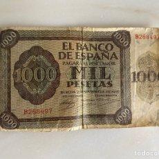 Billetes españoles: BILLETE 1000 (MIL) PESETAS - BURGOS 21 NOVIEMBRE DE 1936 - SERIE B - ORIGINAL - EL DE LA FOTO. Lote 283049558