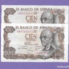 Billetes españoles: PAREJA CORRELATIVA DE 100 PESETAS 1970 !OJO! SERIE 9B PLANCHA. Lote 283261638