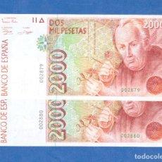 Billetes españoles: PAREJA CORRELATIVA DE 2000 PTS 1992 SIN SERIE NUMERO MUY BAJO SC. Lote 283914318