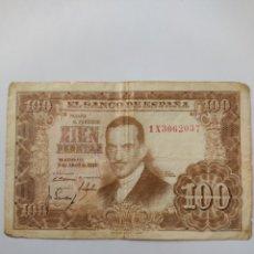 Billets espagnols: * BILLETE 100 PESETAS 1953 SERIE 1X. Lote 285044443