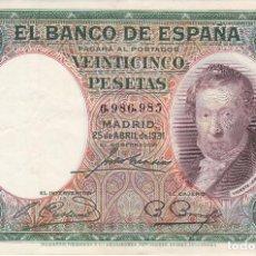 Billets espagnols: BILLETE DE 25 PESETAS DEL AÑO 1931 VICENTE LOPEZ EN BUENA CALIDAD SIN SERIE. Lote 285282023