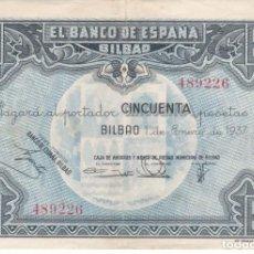 Billets espagnols: BILLETE DE 50 PESETAS DEL BANCO DE ESPAÑA-BILBAO DEL AÑO 1937 (CAJA DE AHORROS DE BILBAO). Lote 285404933