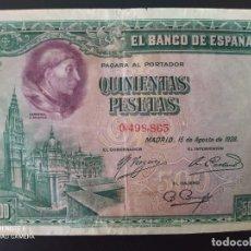 Billets espagnols: 500 PESETAS DE 1928...SIN SERIE..N° BAJO.... BONITO..... ES EL DE LAS FOTOS. Lote 285631193