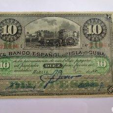 Billetes españoles: BILLETE DE 10 PESOS BC 1897 DEL BEIC LA VARIANTE MÁS DIFICIL. Lote 286209458