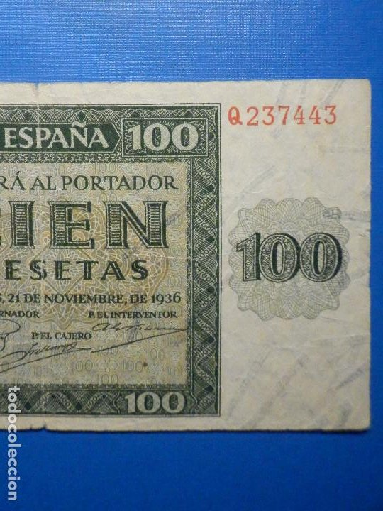 Billetes españoles: Billete 100 Pts - Pesetas - 1936 21 Noviembre Estado Español Burgos Giesecke Devrient - Foto 3 - 34263275