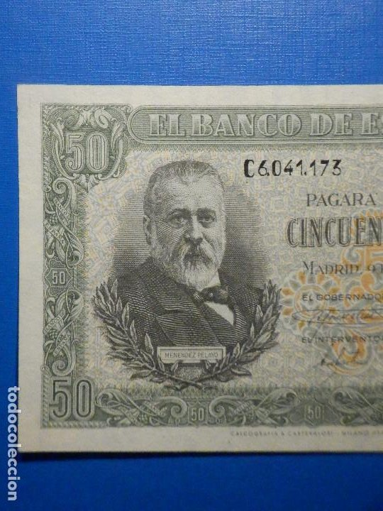 Billetes españoles: Billete 50 Pts 1940 9 Enero Estado Español Menendez Pelayo Pesetas NumisBazar - Foto 2 - 34267020