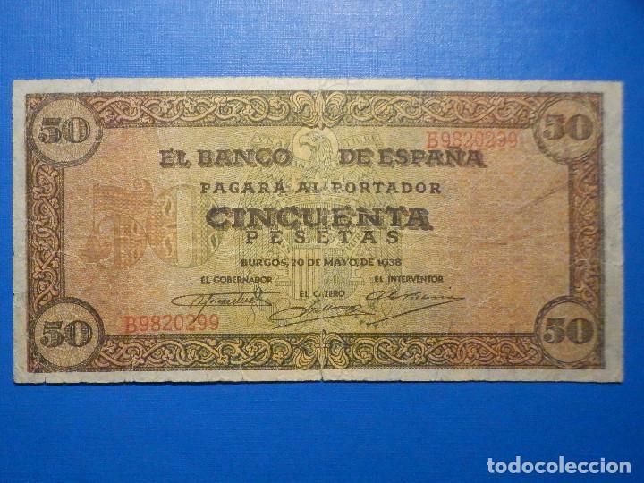 BILLETE 50 PTS - PESETAS - 1938 20 MAYO ESTADO ESPAÑOL BURGOS GIESECKE DEVRIENT (Numismática - Notafilia - Billetes Españoles)