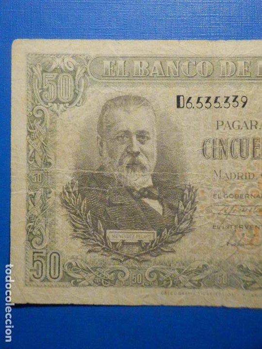 Billetes españoles: BILLETE 50 PTS 1940 - 9 ENERO - ESTADO ESPAÑOL MENENDEZ PELAYO PESETAS - Foto 2 - 35731867