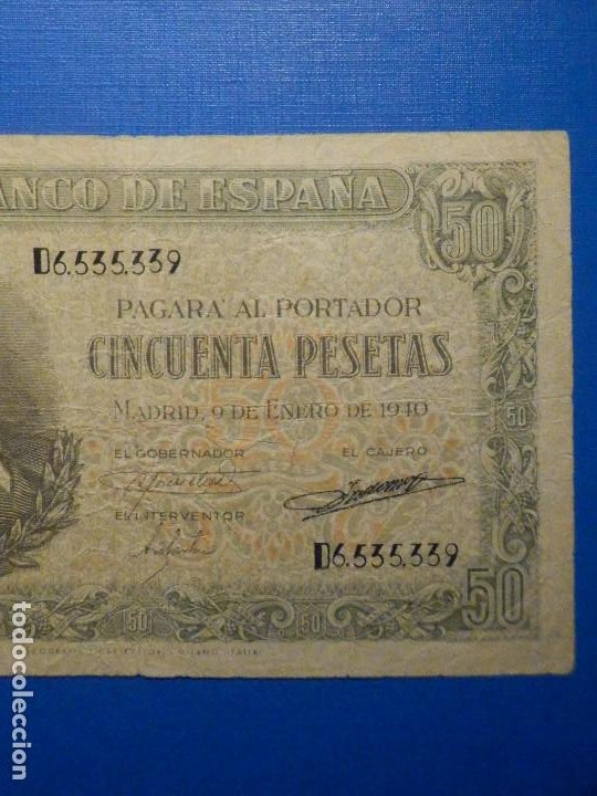 Billetes españoles: BILLETE 50 PTS 1940 - 9 ENERO - ESTADO ESPAÑOL MENENDEZ PELAYO PESETAS - Foto 3 - 35731867