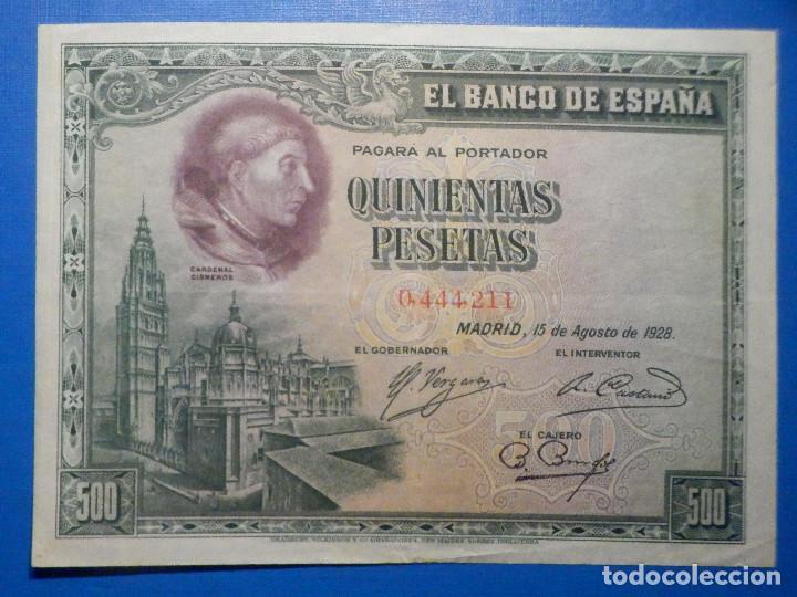 BILLETE 500 PESETAS - 15 DE AGOSTO 1928 -CARDENAL CISNEROS - ALFONSO XIII - (Numismática - Notafilia - Billetes Españoles)