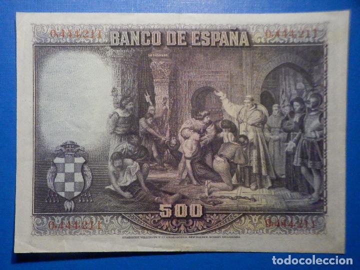 Billetes españoles: Billete 500 Pesetas - 15 de Agosto 1928 -Cardenal cisneros - Alfonso XIII - - Foto 2 - 35733591