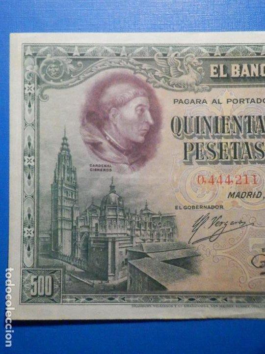 Billetes españoles: Billete 500 Pesetas - 15 de Agosto 1928 -Cardenal cisneros - Alfonso XIII - - Foto 3 - 35733591