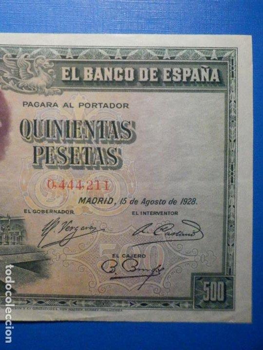Billetes españoles: Billete 500 Pesetas - 15 de Agosto 1928 -Cardenal cisneros - Alfonso XIII - - Foto 4 - 35733591